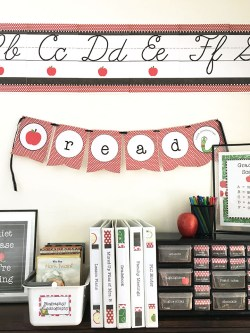 Classroom wall with alphabet banner and pennants in red and black
