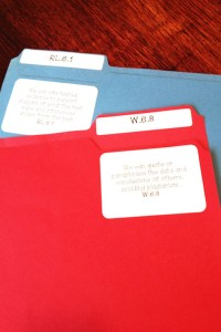 file folders with Common Core standards labels on stickers
