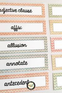Academic Vocabulary Word Wall pastel colors