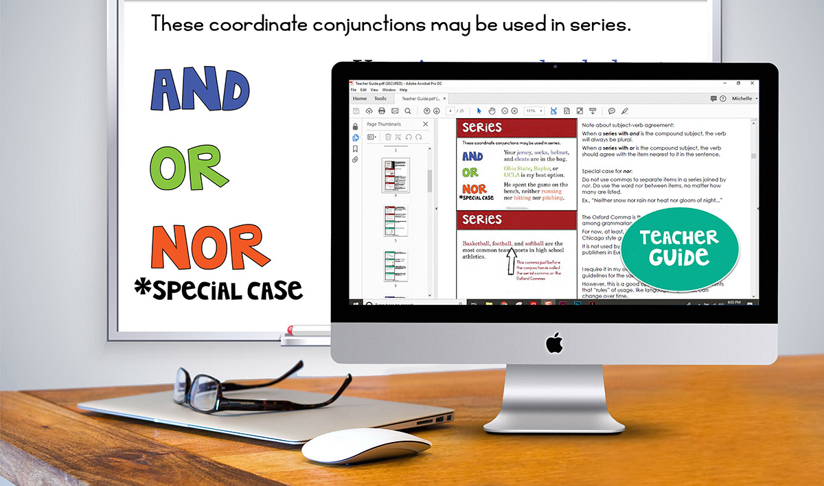 Comma Rules presentation on whiteboard and teacher guide on desktop