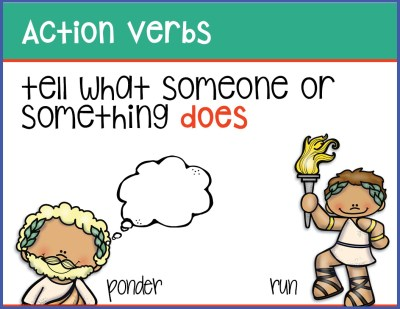 sample slide - action verbs - tell what someone or something does