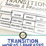 Transition Words and Phrases for Middle School
