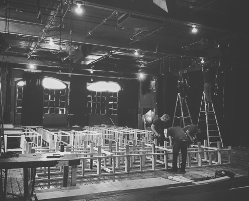 Set construction in Mixed Blood auditorium