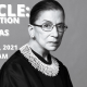 "Black and White photo of Ruth Bader Ginsburg with text ""RBG CLE: Elimination of Bias March 23, 2201 8-10 am"""