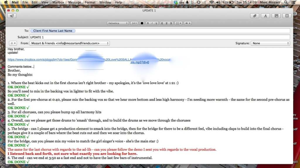 Client Mix Feedback Example E-Mail Marc Mozart 2
