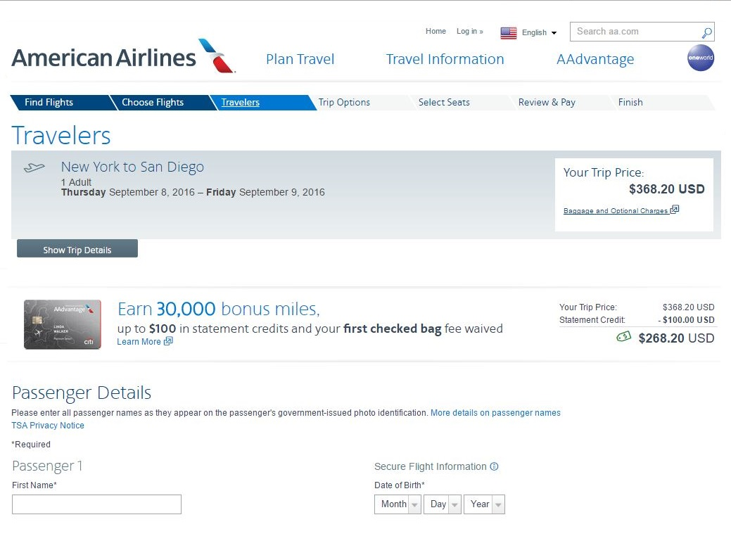 The Citi AAdvantage Platinum Select: $100 Statement Credit and 30,000 Bonus Miles