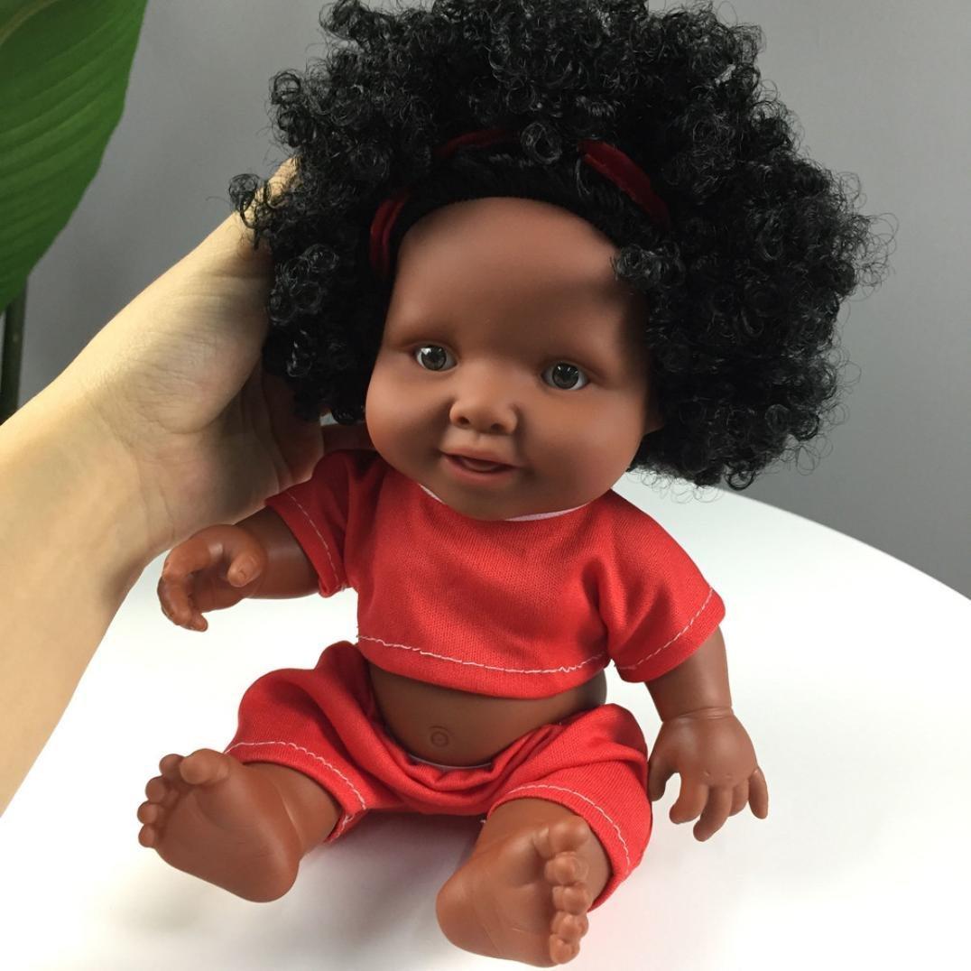 Kingko_ 12 inch Reborn Siblings Baby Dolls Soft Vinyl Silicone Lifelike Black La African Full Body reborn Doll