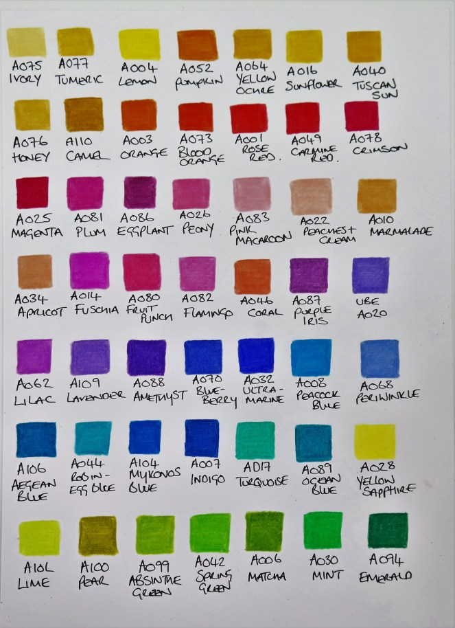 Arteza Coloured Pencils Swatch
