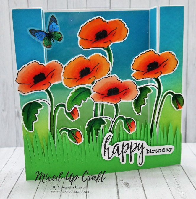 Pretty Poppy Bridge Fold Card