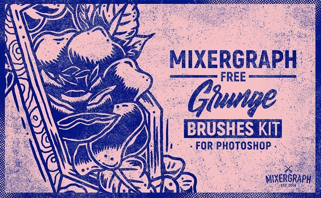 Mixergraph Free Grunge Brushes Kit Photoshop