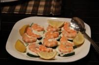 Shrimp Creme Fraiche on Cucumber Rounds