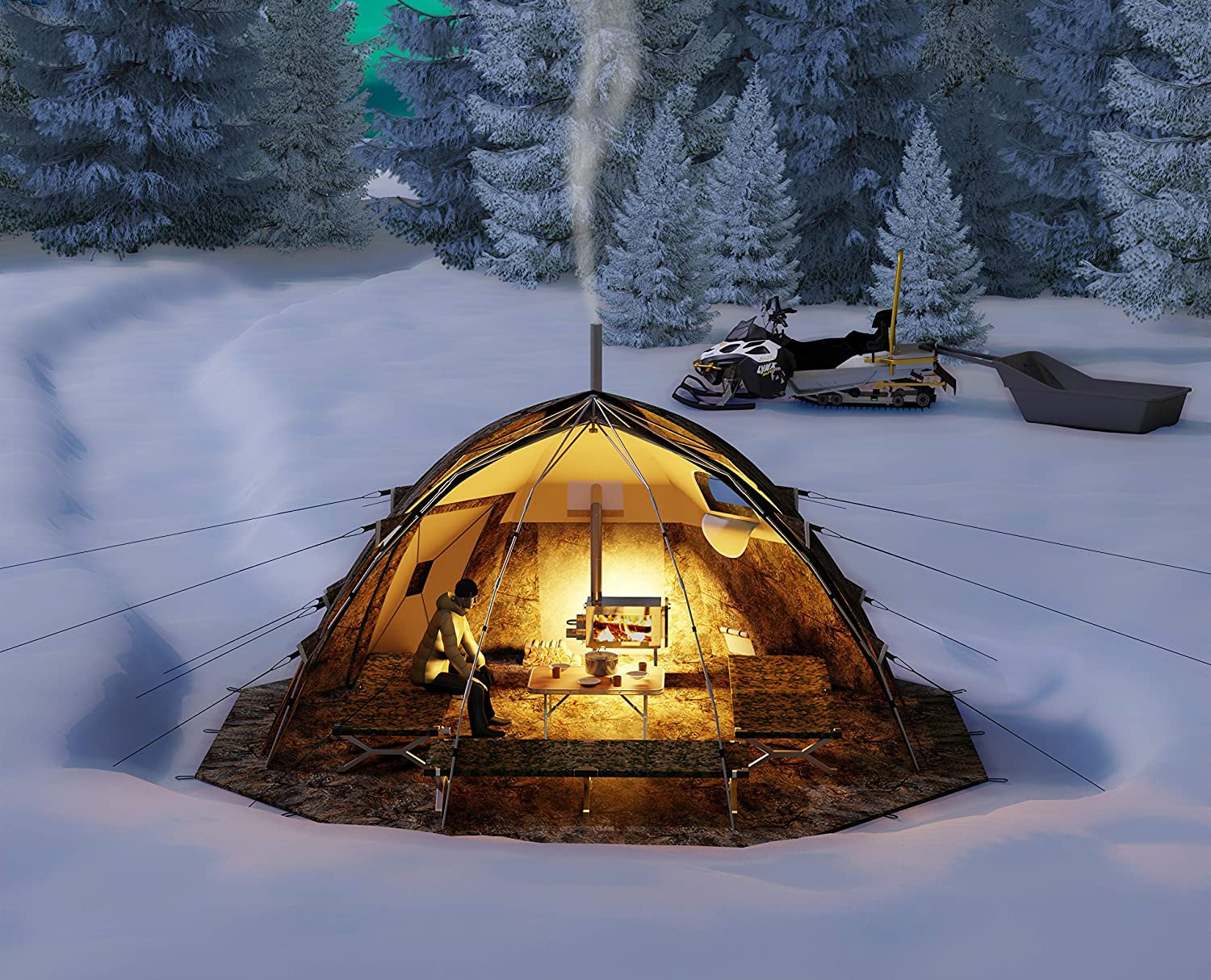 Cold Weather Tent with Wood Burning Stove