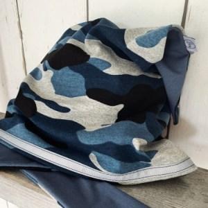 blauwe bandana met legerprint