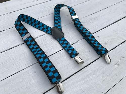 Bretels Blue & Black Blocks