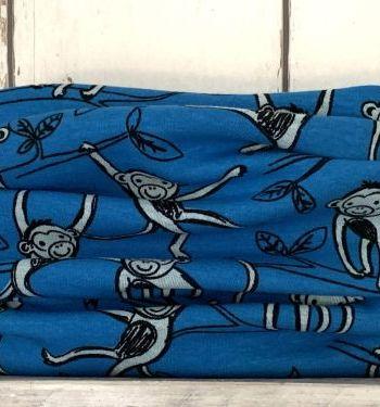 Blauwe colsjaal met aapjes