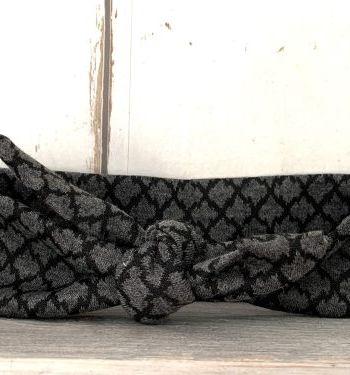 Grijs/zwart knoophaarbandje