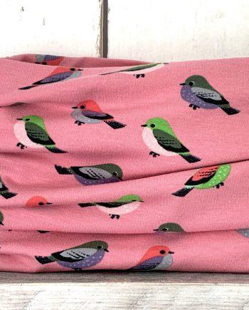 Roze colsjaaltje met vogeltjes