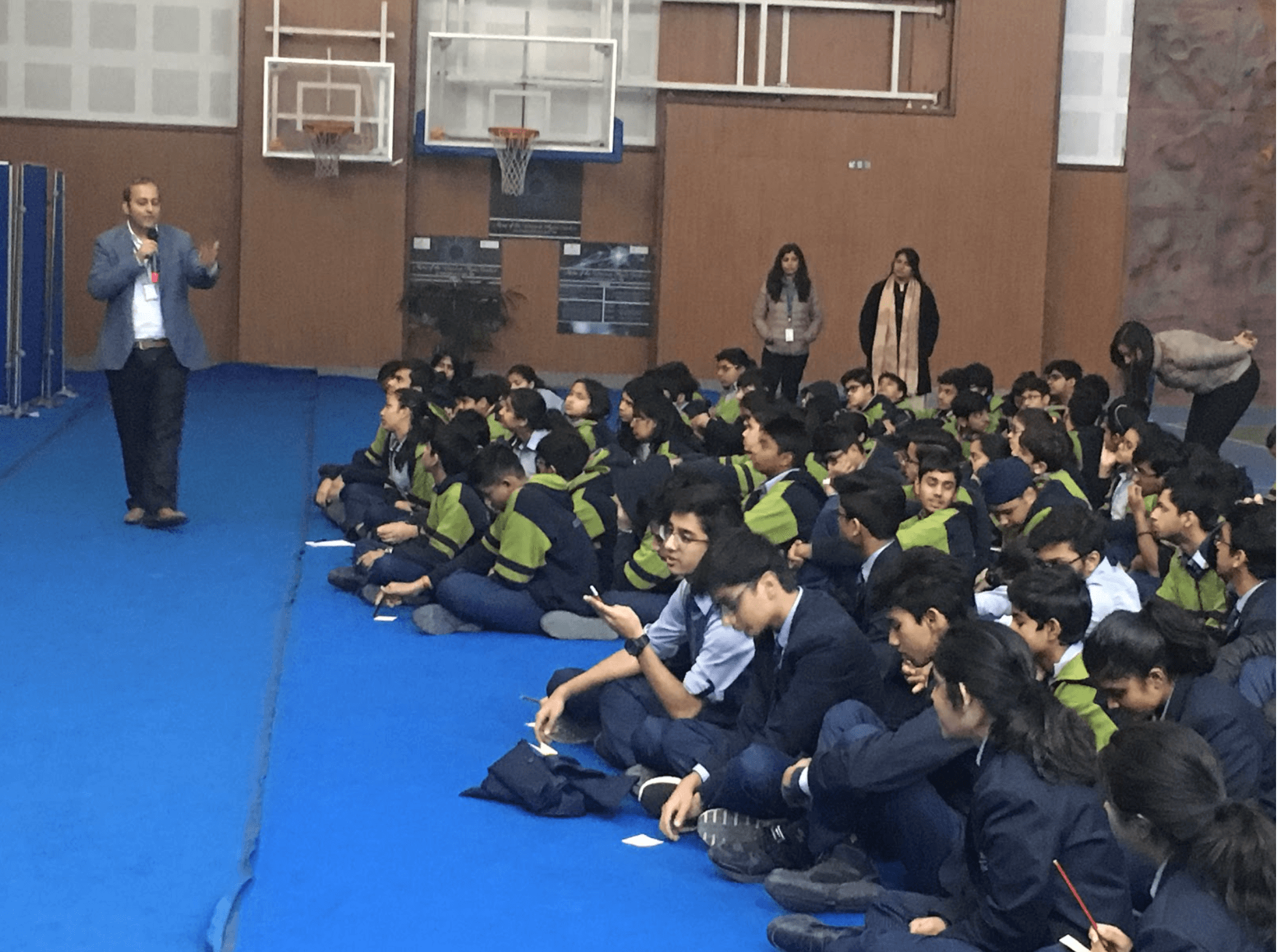 Sachin Gaur's discussion with students about Cyber security at Shiv Nadar School, Noida