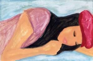 女性 ハンチング 眠る