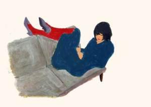 女性 タイツ ソファー