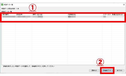 GビズIDで電子申請する「申請データ一覧」