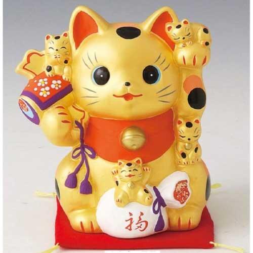 金の貯金箱「招き猫」
