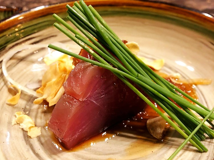 Maguro sashimi aged in Chef's secret cured vinegar recipe.   実柚 ~みゆ ~ MIYU ~ Finest Japanese Omakase in Singapore at sincere prices. An exquisite sensory experience to remember.