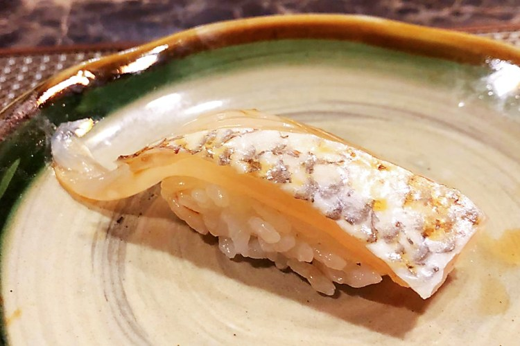 Tai nigiri - raw Japanese Sea Beam Sushi at Miyu Singapore