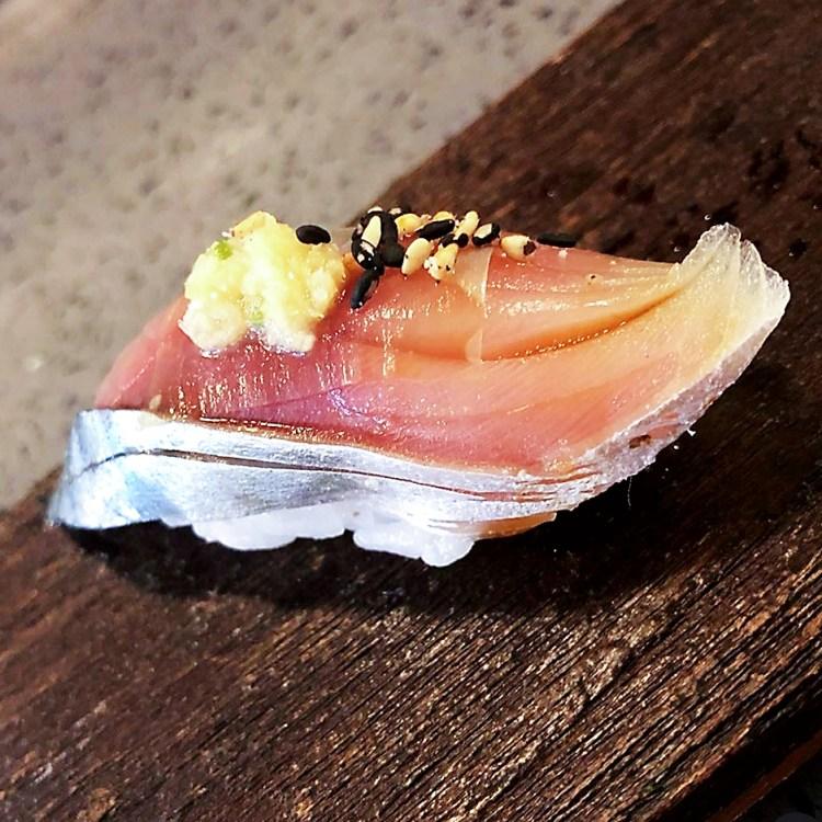 Saba nigiri - raw Mackarel sushi at Miyu Sushi and Omakase, Singapore