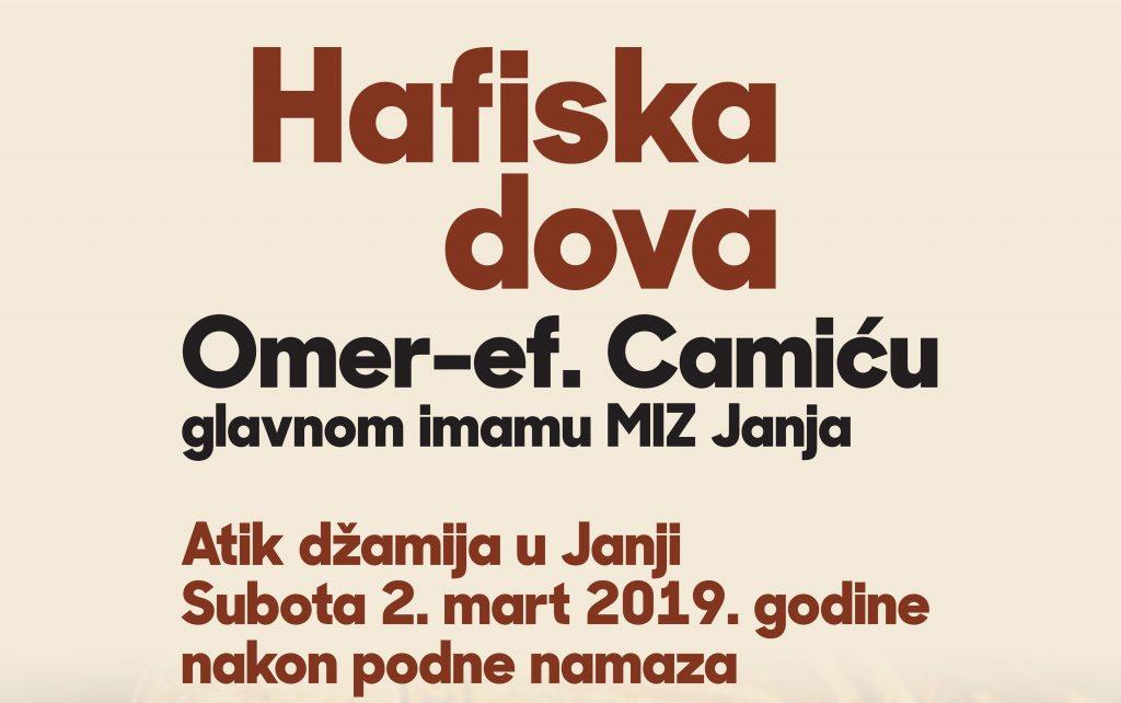 Hafiska dova Omer ef. Camiću, glavnom imamu MIZ Janja
