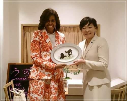安倍昭恵夫人とミシェルオバマさん2ショット