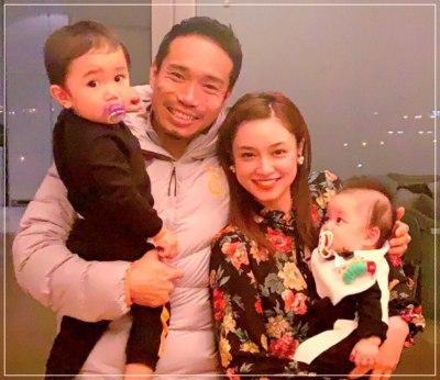 長友佑都と平愛梨の子供2人と4人家族写真ショット