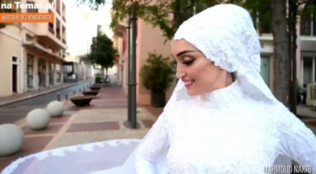 Wybuch przerwał ślubną sesję. Nie zobaczysz bardziej poruszającego nagrania z Bejrutu