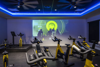 The spinning studio features the state-of-the-art Technogym equipment and technology.