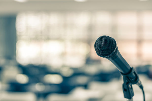 Microphone Voice Speaker In Seminar Classroom, Lecture Hall Or C