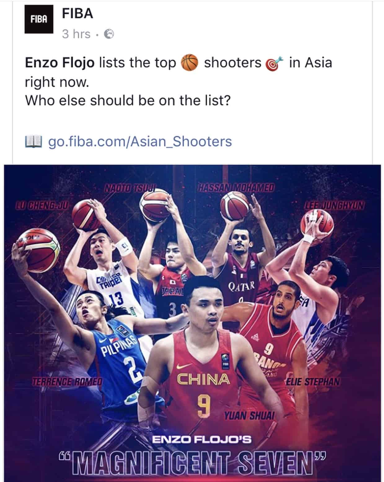 Mizo Amin aka (Mohamed Hassan A Mohamed) mentioned by FIBA Top 7 3 point shooters in Asia