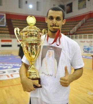 Mizo Amin holding the 27th Arab Championship trophy Morocco Rabat 2014
