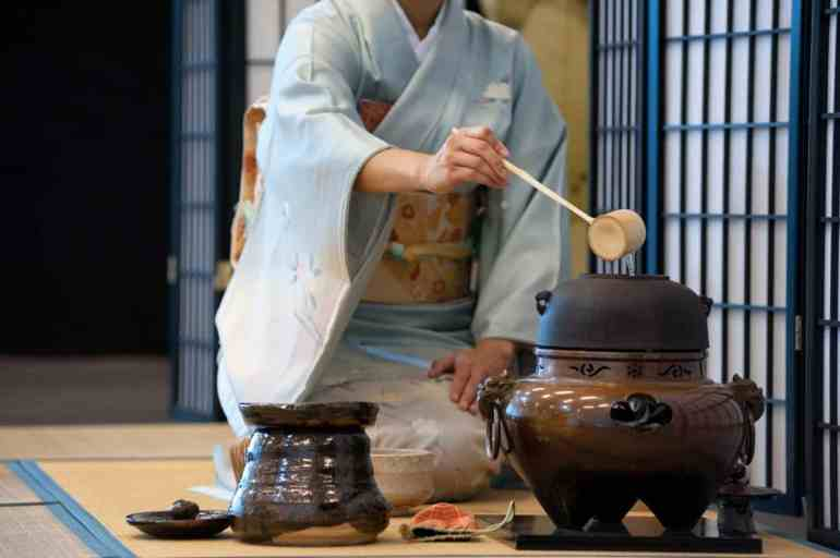 a tea ceremony in Japan