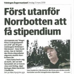 Hans Sundström, artikel i Tidningen Ångermanland, 13 mars 2019.