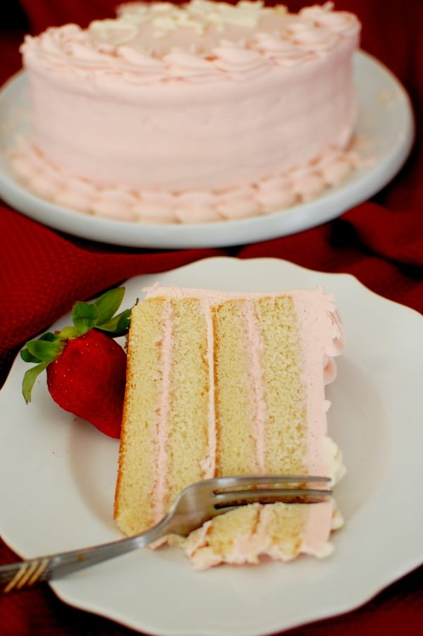 Moist White Layer Cake With Fresh Strawberry Cream Cheese