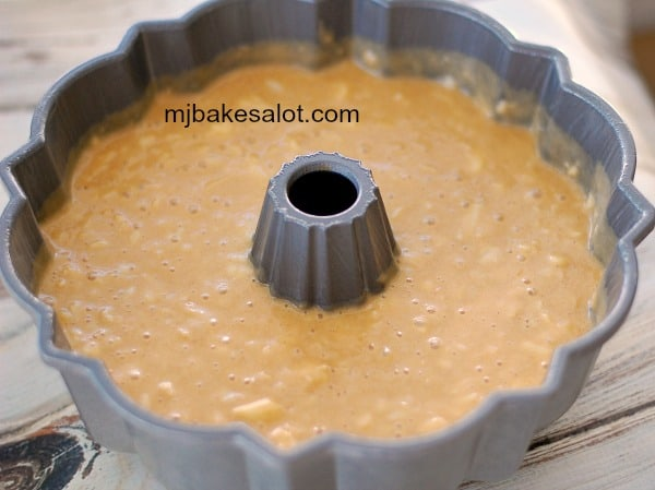 Honey apple Bundt cake batter is in the pan and ready to be baked. | mjbakesalot.com
