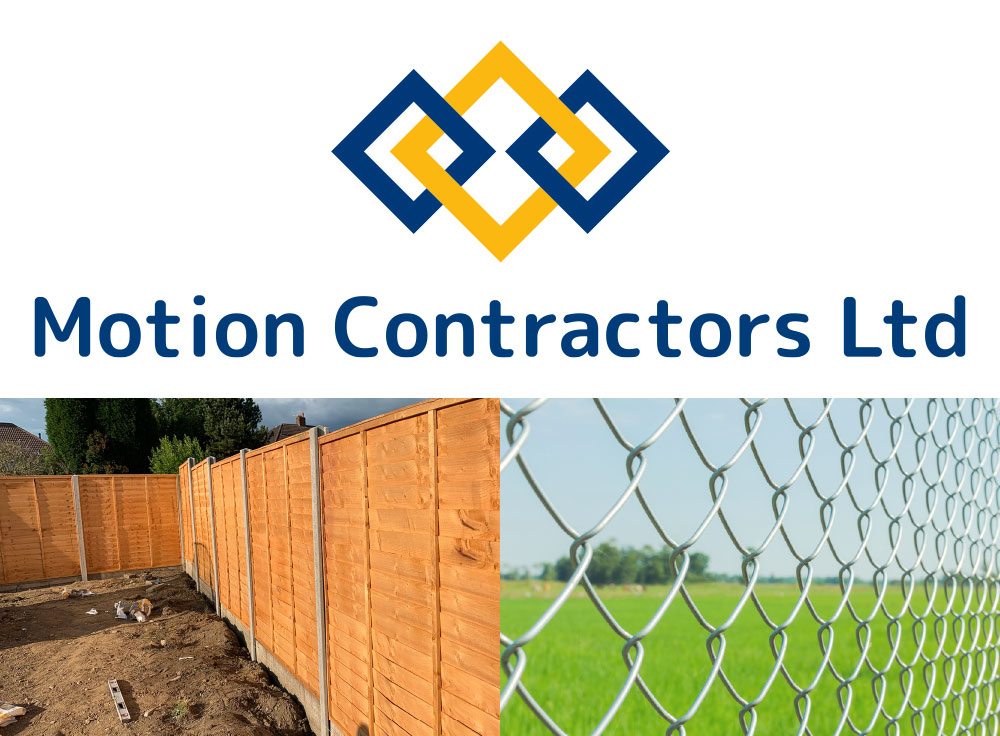 Motion Contractors Logo and Fencing Examples