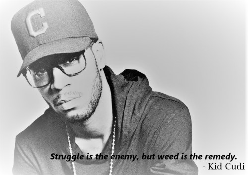 Cannabis Quotes - Struggle is the enemy, but weed is the remedy - Kid Cudi