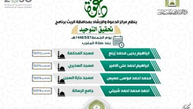 Photo of تحقيق التوحيد برنامج دعوي بدعوة الريث بجازان