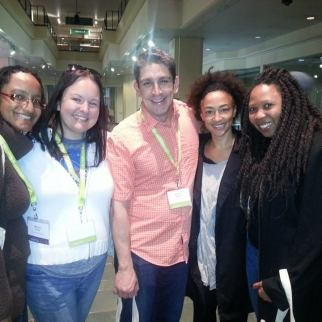 Editor M.J. Fievre (left) and Fiction editor Fabienne Sylvia Merritt (right) with writers Sarah Shepard Pearsall, Mahalia Solages, and Richard Blanco.