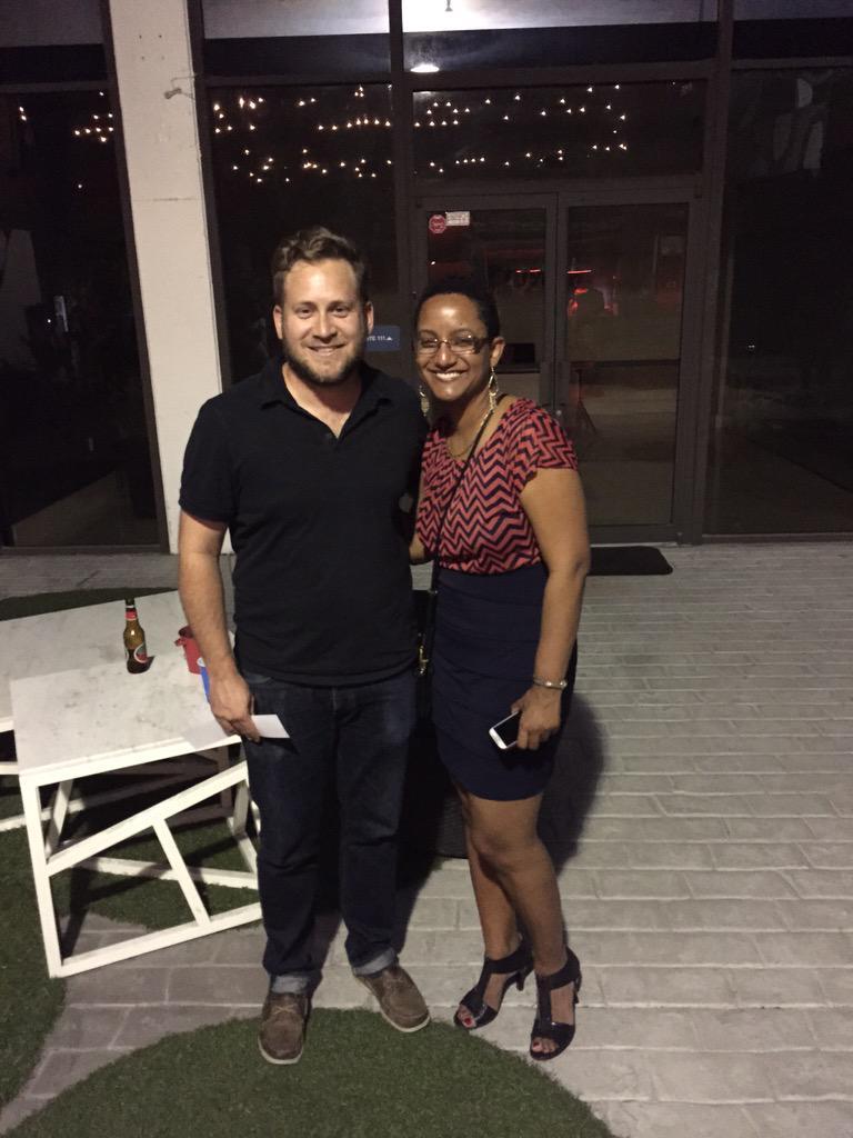 P. Scott Cunningham (O, Miami) and M.J. Fievre (playwright)