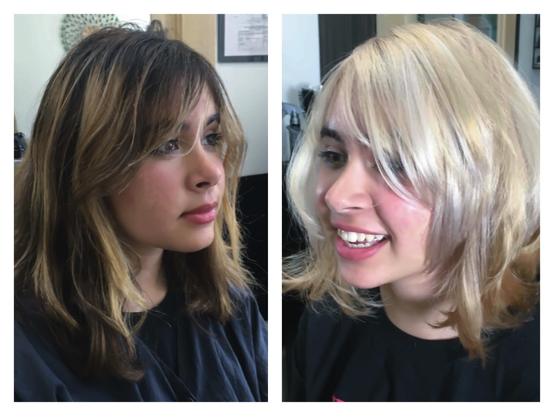 To show a before and after of brunette to blonde