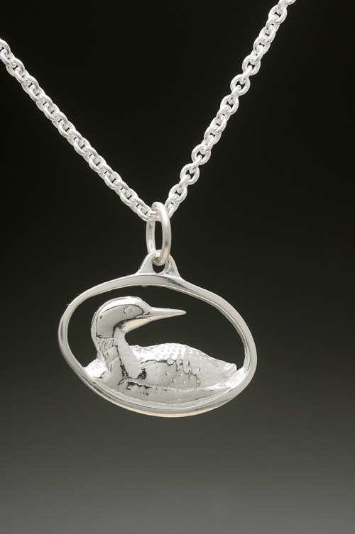 loon pendant silver