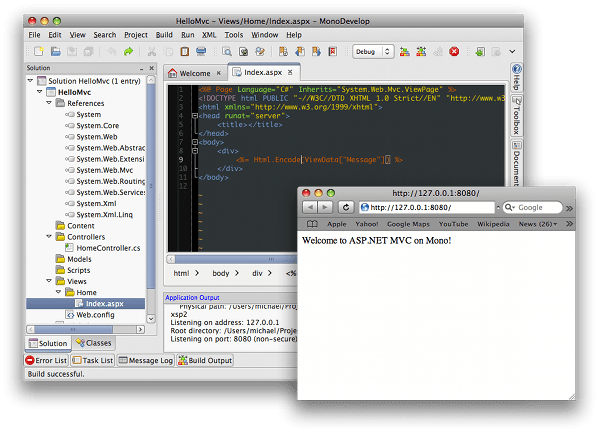 Running an ASP.NET MVC app in MonoDevelop on the Mac