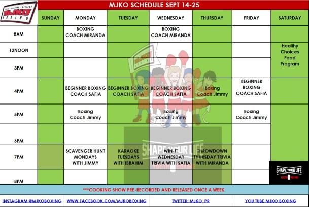 MJKO Schedule Sept 14-25